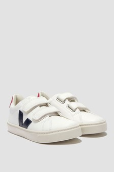 Kids White/Blue Esplar Velcro Trainers