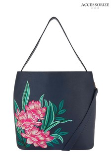 Accessorize Blue Embroidered Hobo Bag