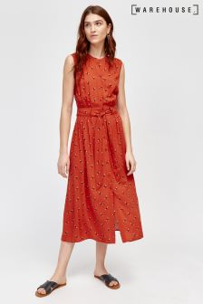 Warehouse Orange Bea Print Midi Shirt Dress