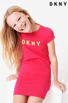 DKNY Pink Jersey Logo Dress
