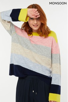 Monsoon Ladies Grey Shelby Stripe Nep Jumper
