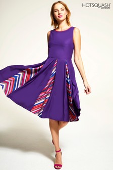 HotSquash Purple Box Pleat Contrast Midi Dress