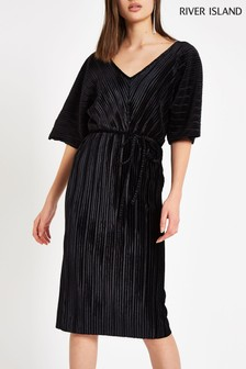 River Island Black Plisse Velvet Kimono Sleeve Dress