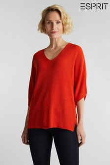 Esprit Womens Orange Short Sleeved Sweater