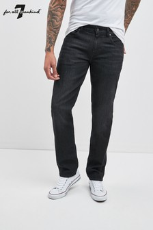 ג'ינס משופשף בגזרה צרה של 7 For All Mankind® בשחור