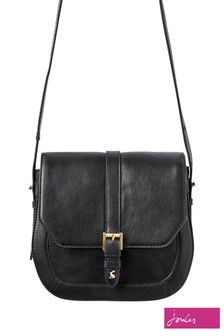 Joules Black Saddle Leather Cross Body Bag