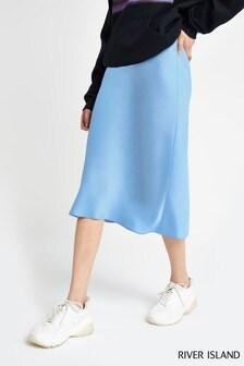 River Island Light Blue Bias Cut Skirt