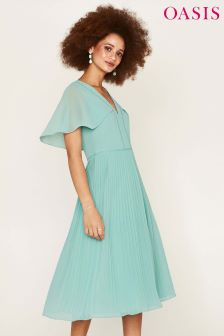 Oasis Green Cape Back Pleated Midi Dress
