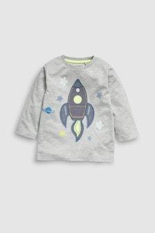 Long Sleeve Appliqué Rocket T-Shirt (3mths-7yrs)
