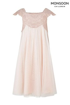 Monsoon Estella Glitzerkleid, Rosa