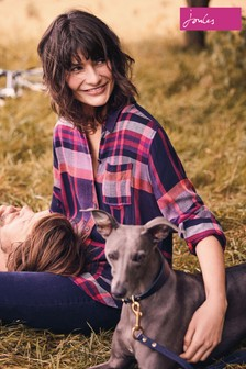 Joules Check Longline Brushed Cotton Shirt