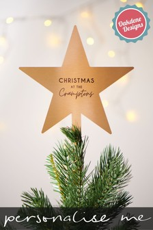 Personalised Gold Star Tree Topper by Oakdene Designs