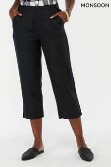 Monsoon Ladies Black Bonita Plain Linen Trouser