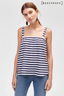 Warehouse Blue Stripe Ruched Cami Vest