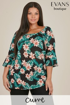 Evans Curve Green Tropical Print Gypsy Top