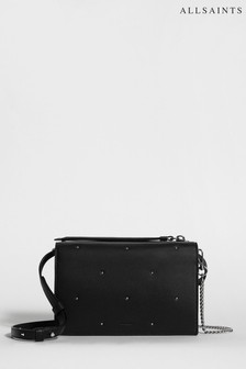 All Saints Black Studded Kathi Leather Cross Body Bag