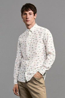 Long Sleeve Dragonfly Print Shirt