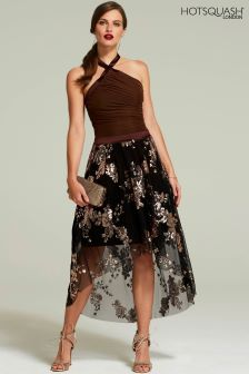 HotSquash Brown Embellished Halter Neck Dress