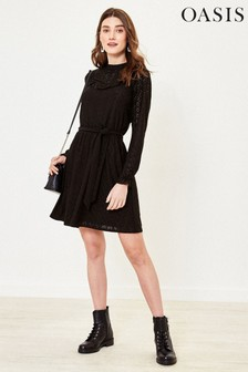 Oasis Tall Black Broderie Bib Dress