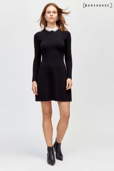 Warehouse Black Embellished Collar Fit And Flare Dress