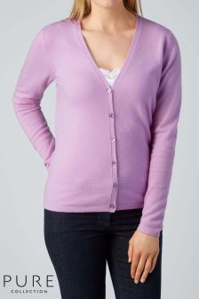 Pure Collection Lilac Cashmere V-Neck Cardigan