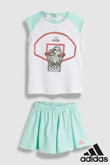 adidas White/Green Tee And Skirt Set