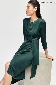Warehouse Green Satin Twist Knot Midi Dress