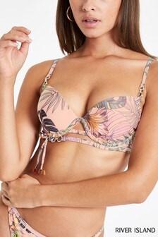 River Island Purple Wrap Tie Plunge Bikini Top