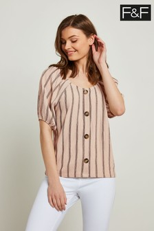 F&F Multi Balloon Sleeve Button Through Crinkle Top