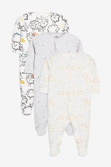 Sheep/Cloud Print Sleepsuits Three Pack (0mths-2yrs)