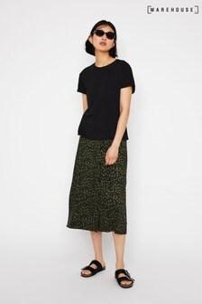 Warehouse Green Khaki Animal Print Midi Skirt