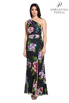 Adrianna Papell Black Printed One Shoulder Gown