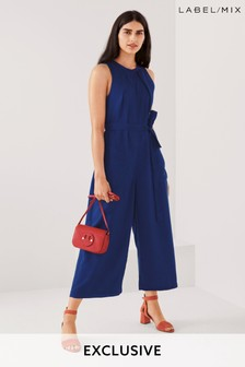 Mix/King & Tuckfield Tencel® Wide Cropped Jumpsuit