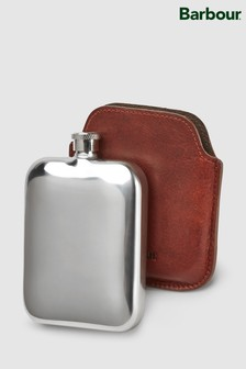 Barbour® Brown Wax Leather Hip Flask