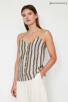 Warehouse Natural Stripe Button Linen Blend Cami Top