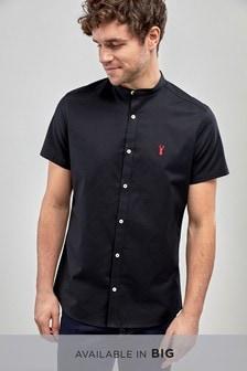 Short Sleeve Slim Stretch Oxford Grandad Shirt