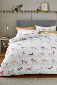 Winter Dachshund Through The Snow Duvet Cover and Pillowcase Set