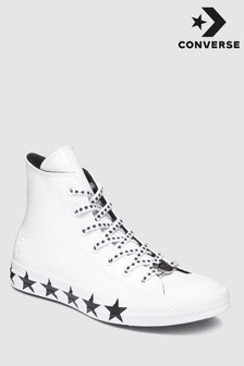 Converse Miley Cyrus White Chuck All Star Hi Patent Trainer