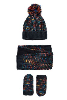 Twist Beanie, Scarf And Mitts Three Piece Set (Younger)