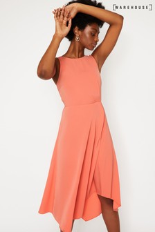 Warehouse Red Tie Back Midi Dress