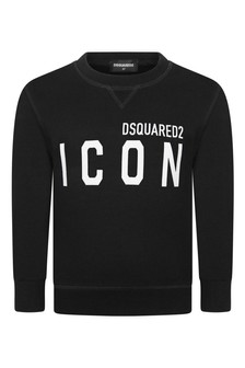 Kids Black Cotton Icon Sweater