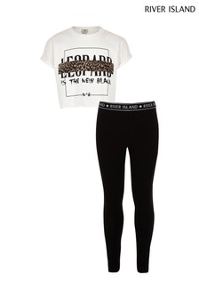 River Island Leopard Is The New Black Tee And Legging Set