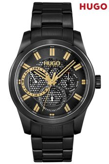 HUGO Skeleton Black IP Bracelet Watch
