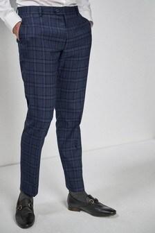 Slim Fit Check Tuxedo Suit: Trousers