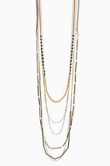 Multi Layer Beaded Long Necklace
