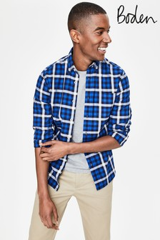 Boden Blue Slim Fit Casual Twill Shirt