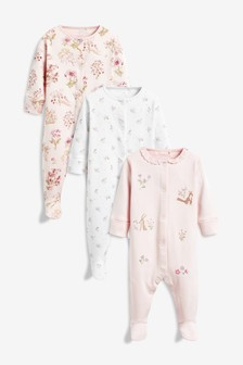 78411216a674c Pink Woodland Character Embroidered Sleepsuits Three Pack (0mths-2yrs)