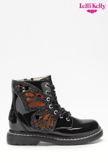 Lelli Kelly Black Patent Fairy Wing Lace-Up Boots