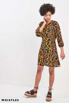 Whistles Black Daisy Print Ester Dress