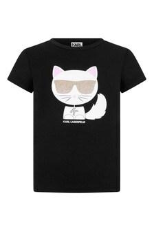 Girls Black Choupette Print Jersey T-Shirt